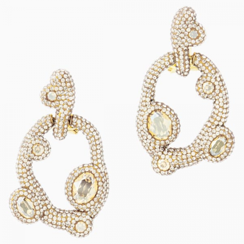 Tigris Pierced Earrings, White, Gold-tone plated