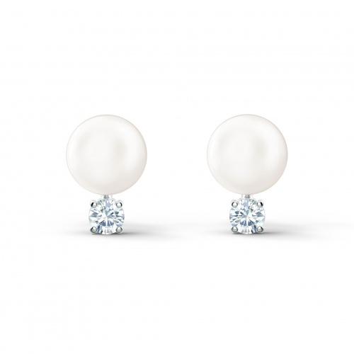 Treasure Pearl Pierced Earrings, White, Rhodium plated