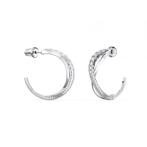 Twist Hoop Pierced Earrings, White, Rhodium plated