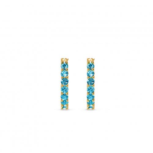 Vittore Hoop Pierced Earrings, Aqua, Gold-tone plated
