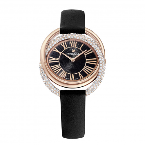 Duo Watch, Leather Strap, Black, Rose-gold tone PVD
