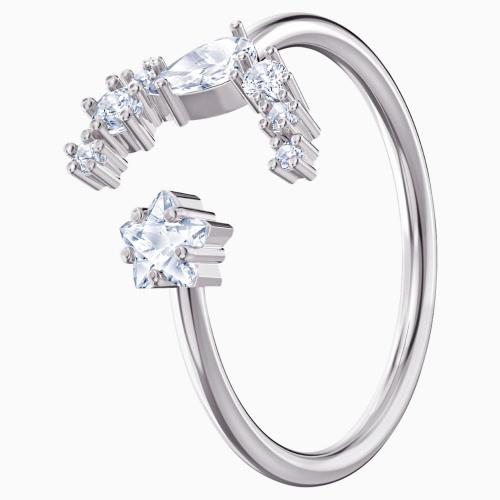 Penélope Cruz Moonsun Open Ring, White, Rhodium plated