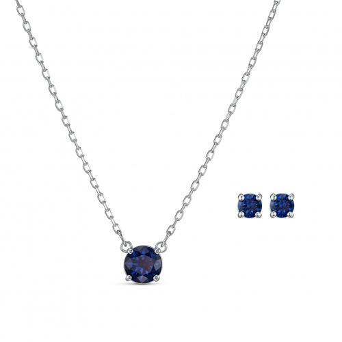 Attract Round Set, Blue, Rhodium plated