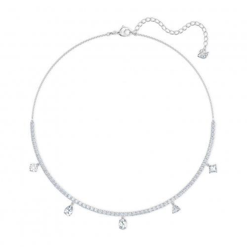 Tennis Deluxe Mixed Set, White, Rhodium plated