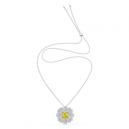 Eternal Flower Pendant- Brooch, Yellow, Mixed metal finish
