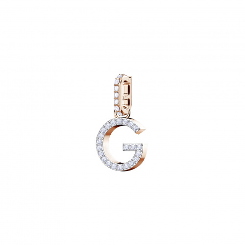 Swarovski Remix Collection Charm G, White, Rose-gold tone plated